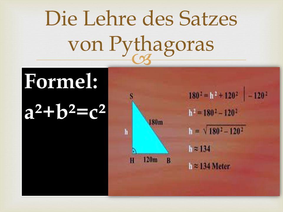 Die Lehre des Satzes von Pythagoras