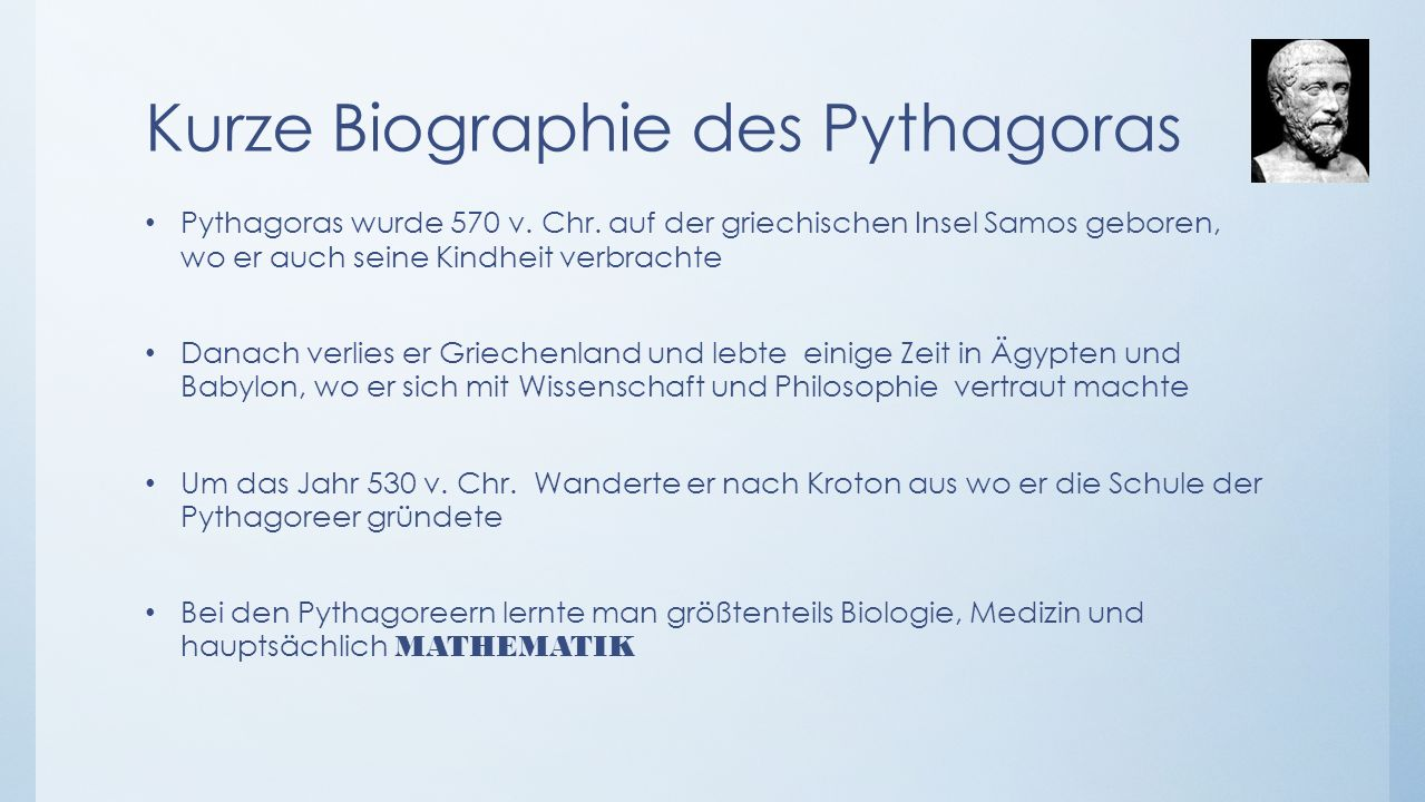Kurze Biographie des Pythagoras