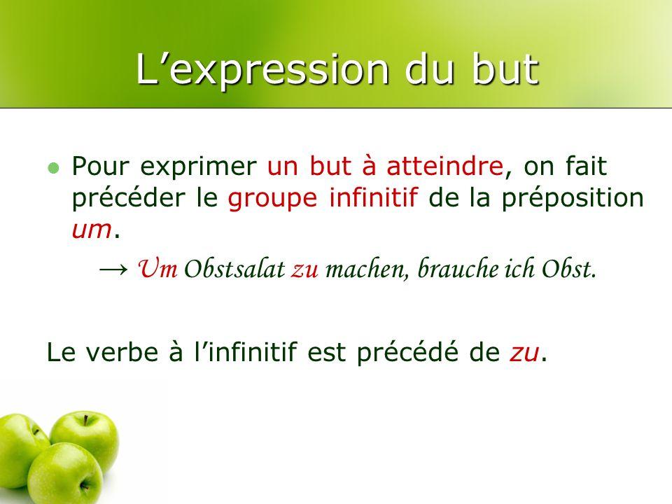 L'expression du but → Um Obstsalat zu machen, brauche ich Obst.