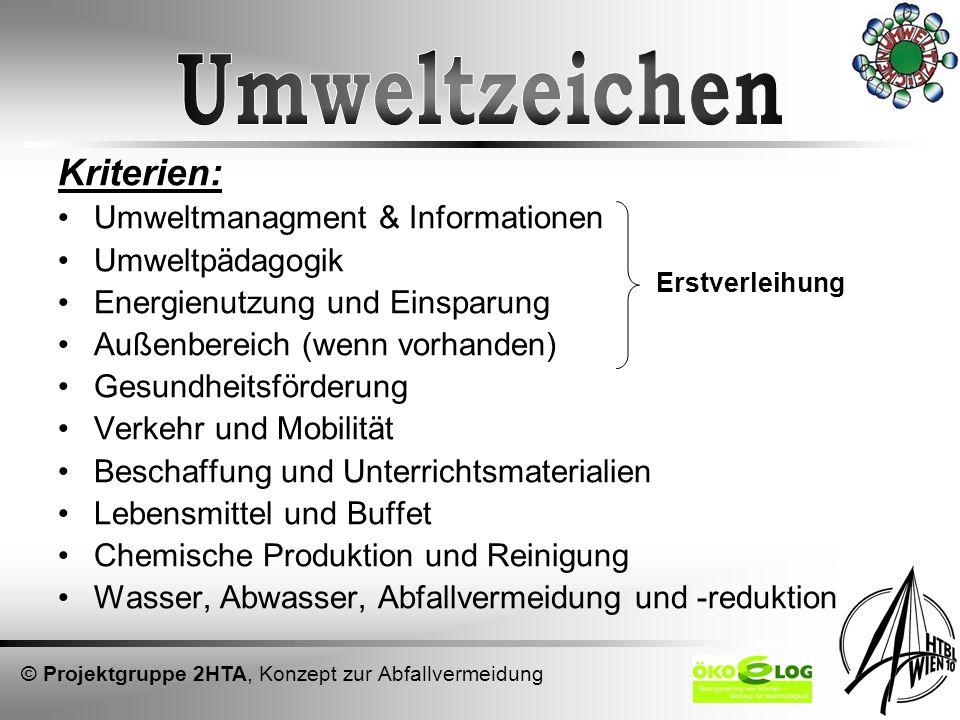 Umweltzeichen Kriterien: Umweltmanagment & Informationen