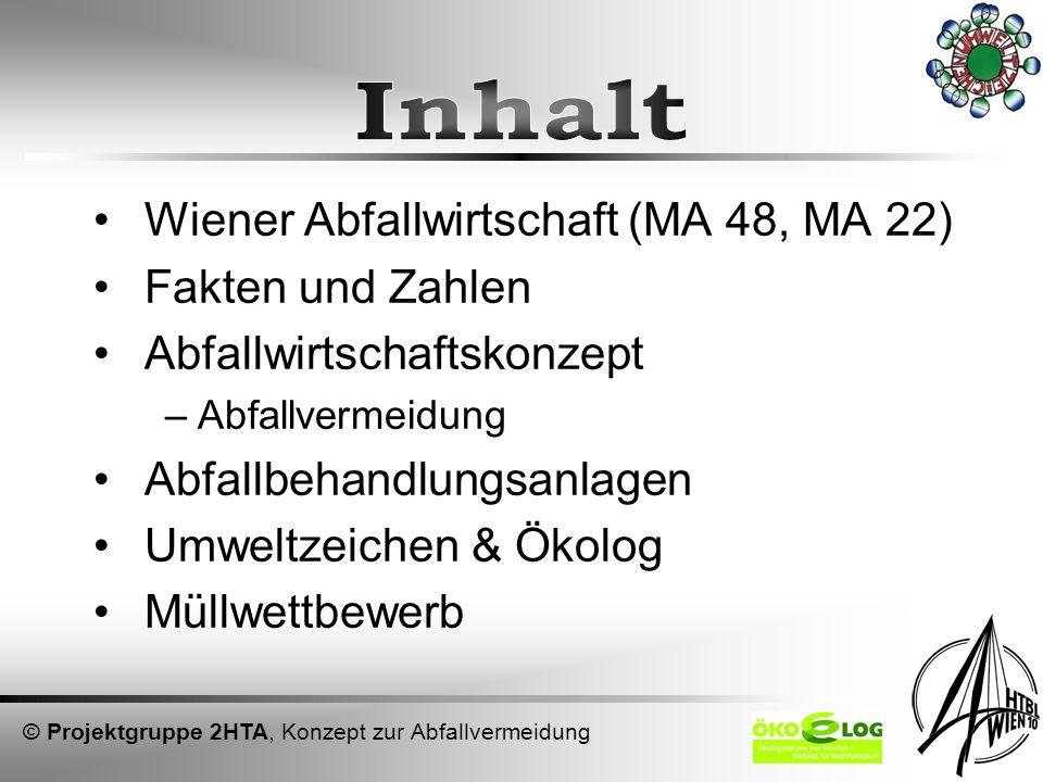 Inhalt Wiener Abfallwirtschaft (MA 48, MA 22) Fakten und Zahlen