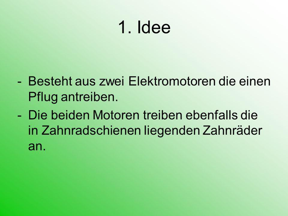 1. Idee Besteht aus zwei Elektromotoren die einen Pflug antreiben.