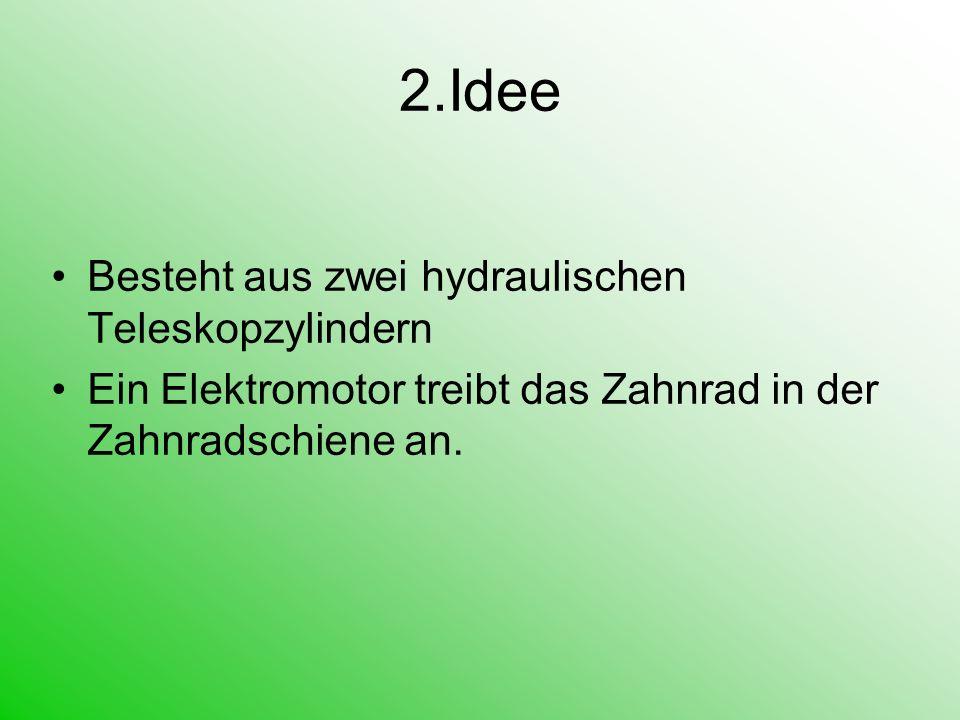 2.Idee Besteht aus zwei hydraulischen Teleskopzylindern