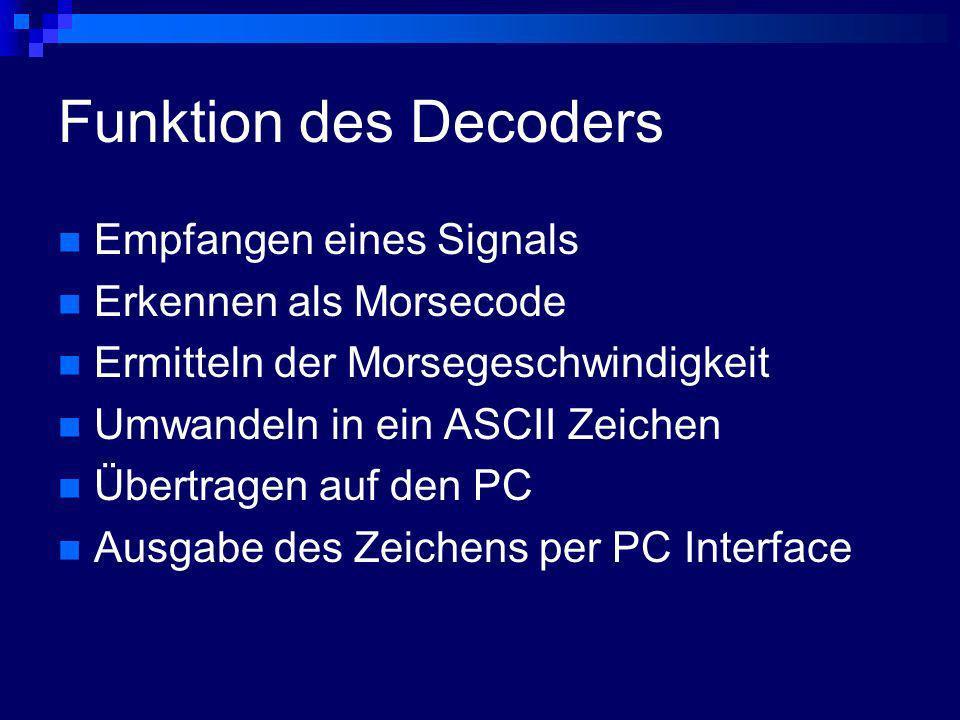Funktion des Decoders Empfangen eines Signals Erkennen als Morsecode