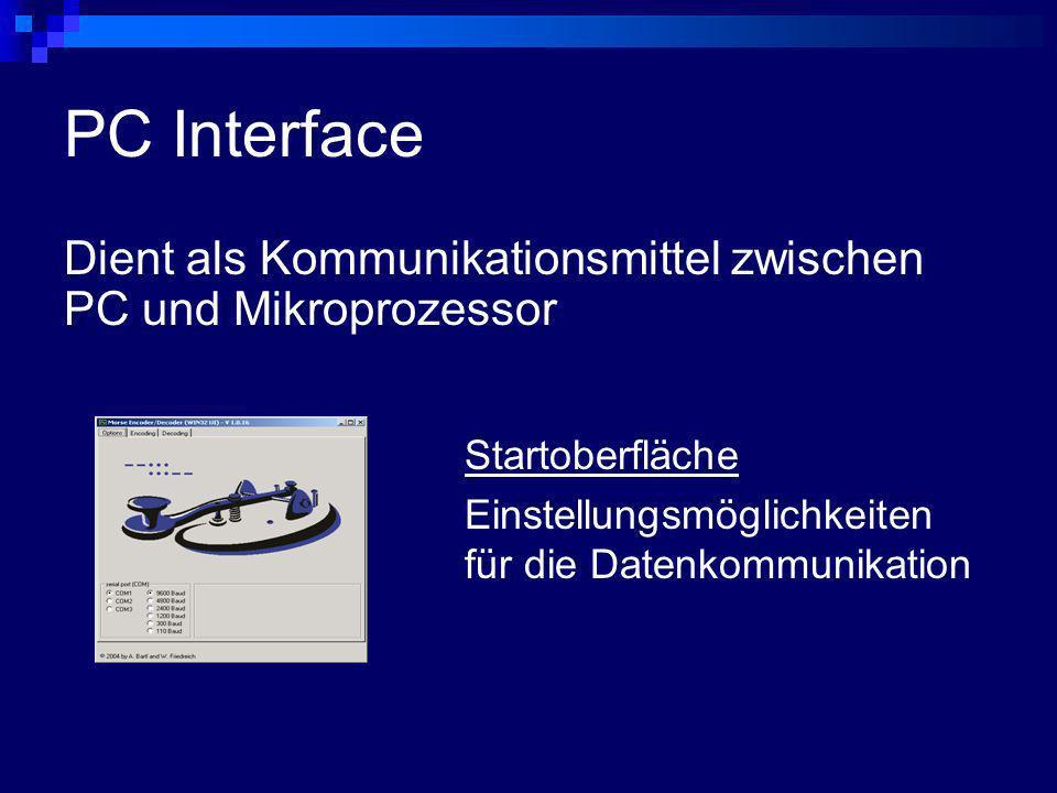 PC Interface Dient als Kommunikationsmittel zwischen PC und Mikroprozessor.