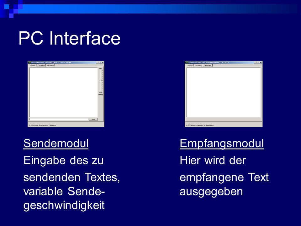 PC Interface Sendemodul Eingabe des zu