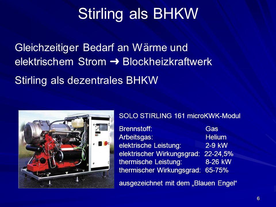 Stirling als BHKW Gleichzeitiger Bedarf an Wärme und