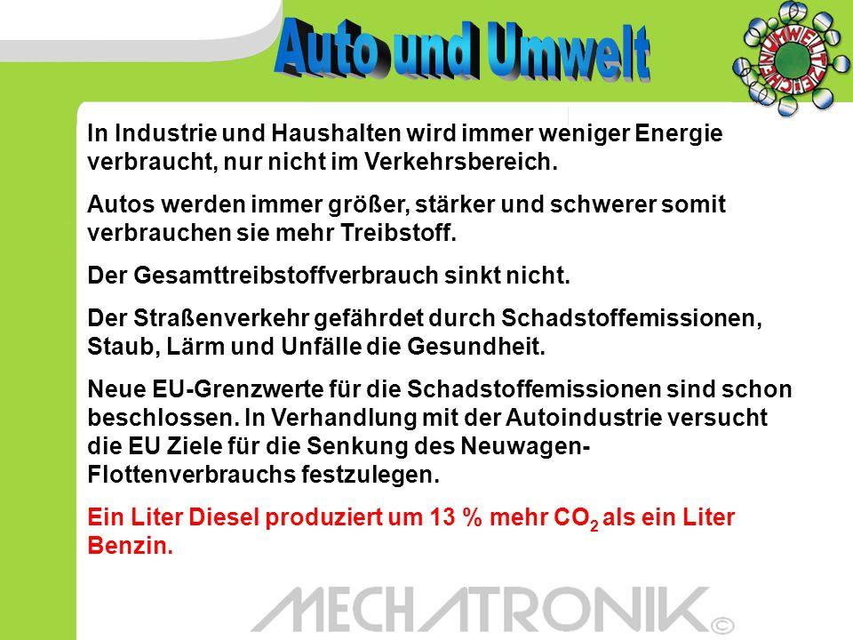 Auto und Umwelt In Industrie und Haushalten wird immer weniger Energie verbraucht, nur nicht im Verkehrsbereich.