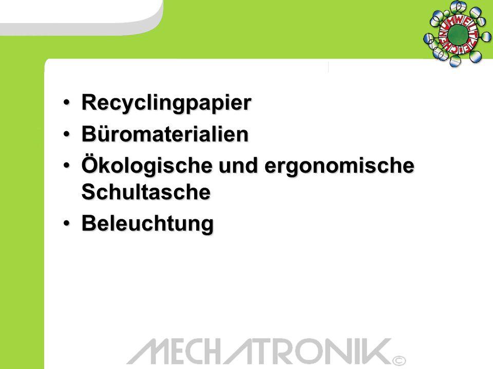 Recyclingpapier Büromaterialien. Ökologische und ergonomische Schultasche. Beleuchtung. Recyclingpapier.