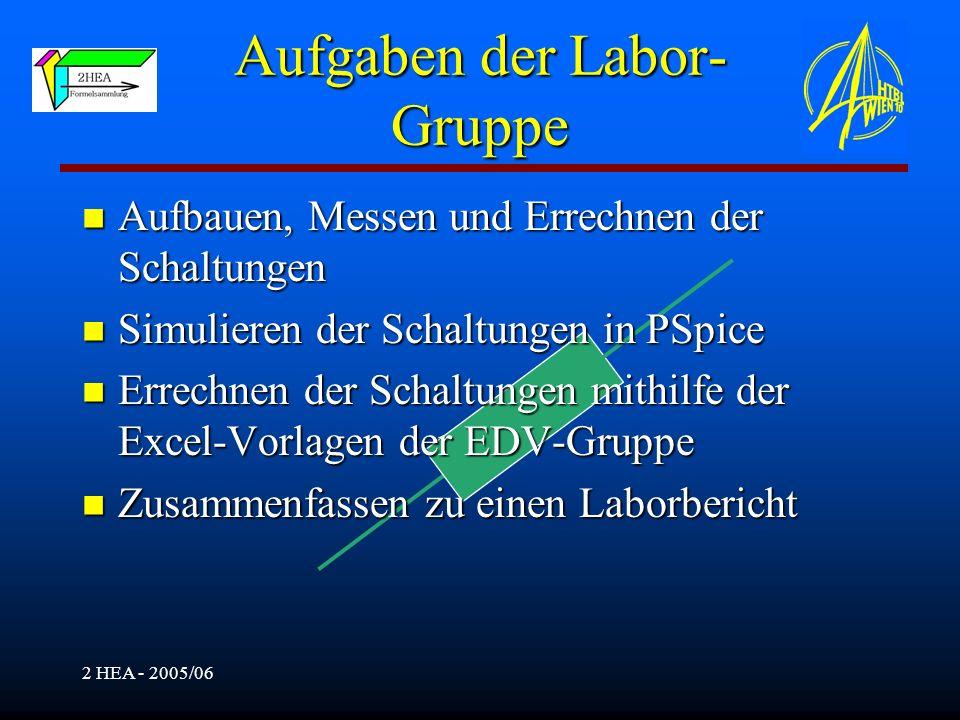 Aufgaben der Labor-Gruppe