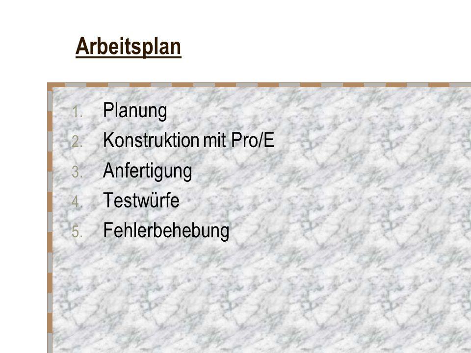 Arbeitsplan Planung Konstruktion mit Pro/E Anfertigung Testwürfe