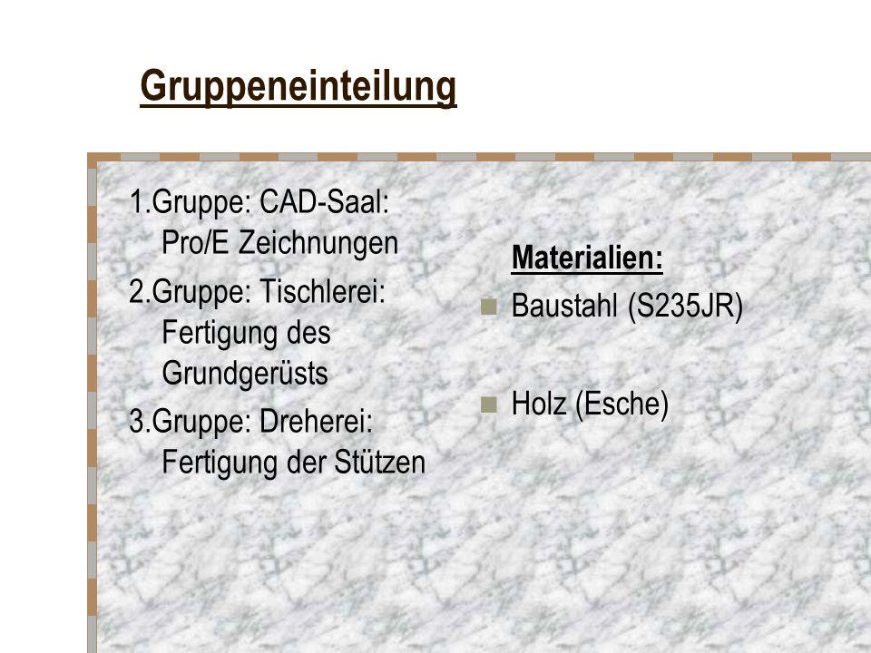Gruppeneinteilung 1.Gruppe: CAD-Saal: Pro/E Zeichnungen