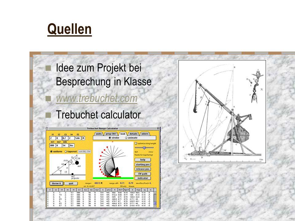 Quellen Idee zum Projekt bei Besprechung in Klasse www.trebuchet.com