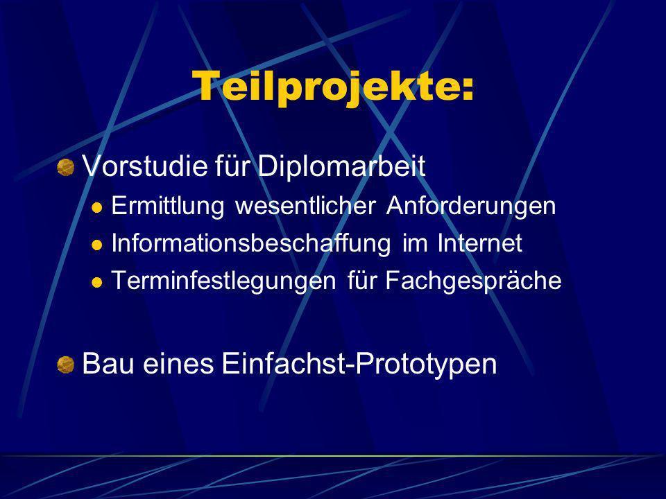 Teilprojekte: Vorstudie für Diplomarbeit