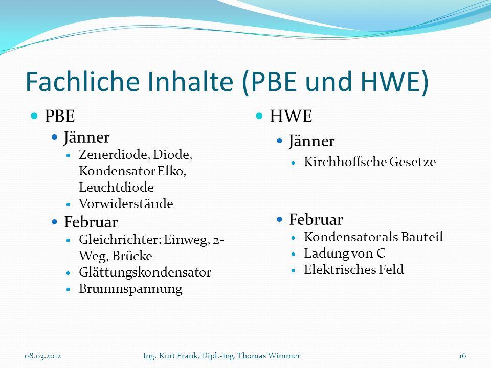 Fachliche Inhalte (PBE und HWE)