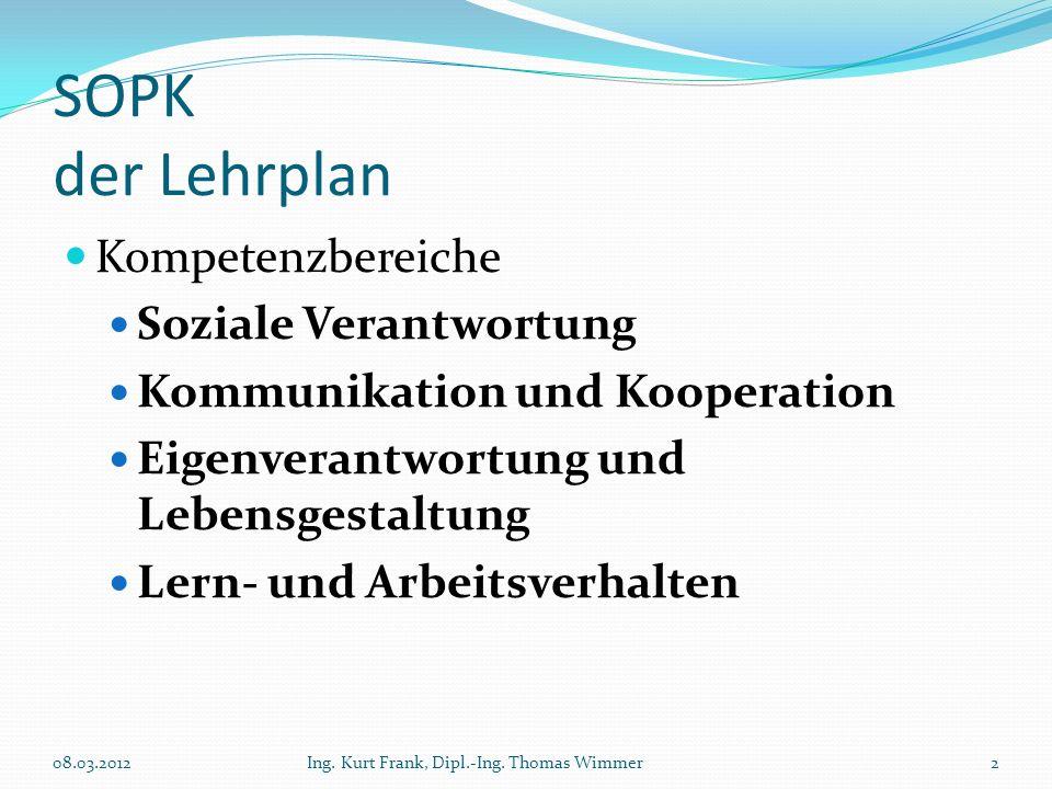 SOPK der Lehrplan Kompetenzbereiche Soziale Verantwortung