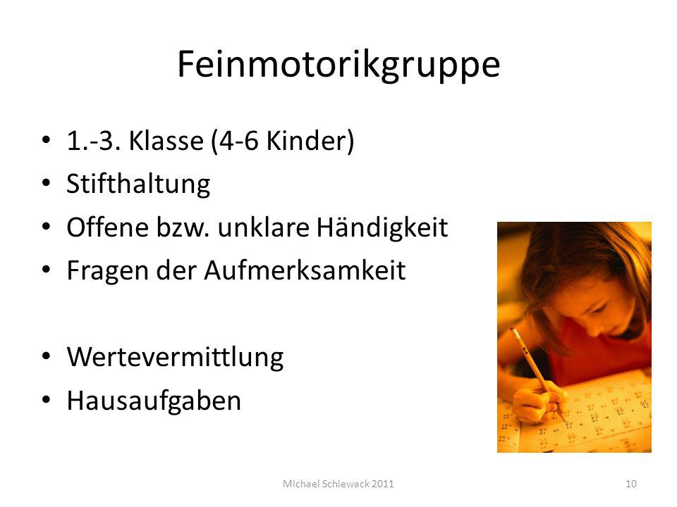 Feinmotorikgruppe 1.-3. Klasse (4-6 Kinder) Stifthaltung