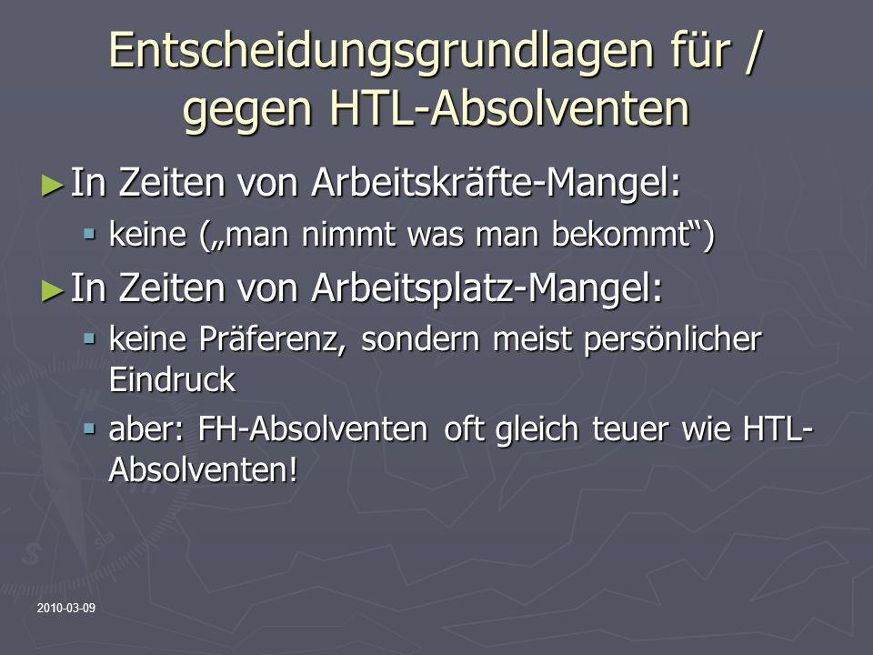 Entscheidungsgrundlagen für / gegen HTL-Absolventen