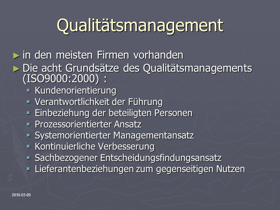 Qualitätsmanagement in den meisten Firmen vorhanden