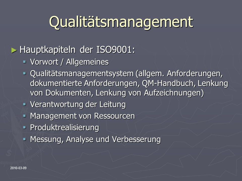 Qualitätsmanagement Hauptkapiteln der ISO9001: Vorwort / Allgemeines