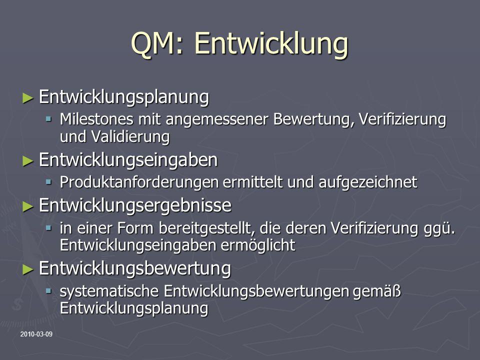 QM: Entwicklung Entwicklungsplanung Entwicklungseingaben