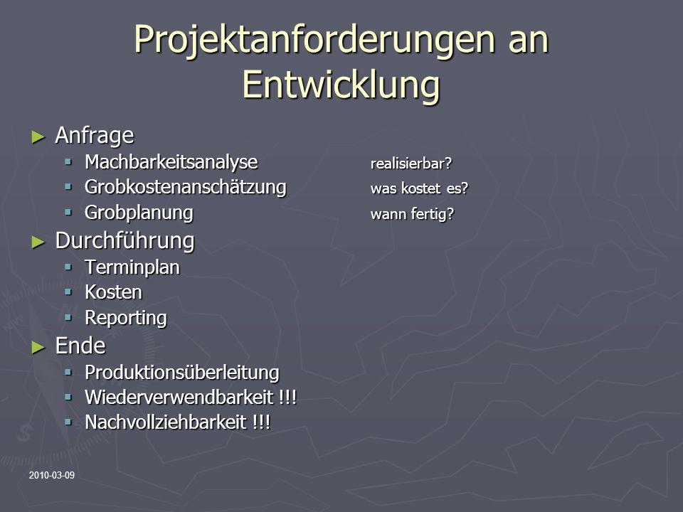 Projektanforderungen an Entwicklung