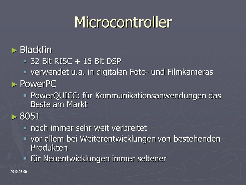 Microcontroller Blackfin PowerPC 8051 32 Bit RISC + 16 Bit DSP