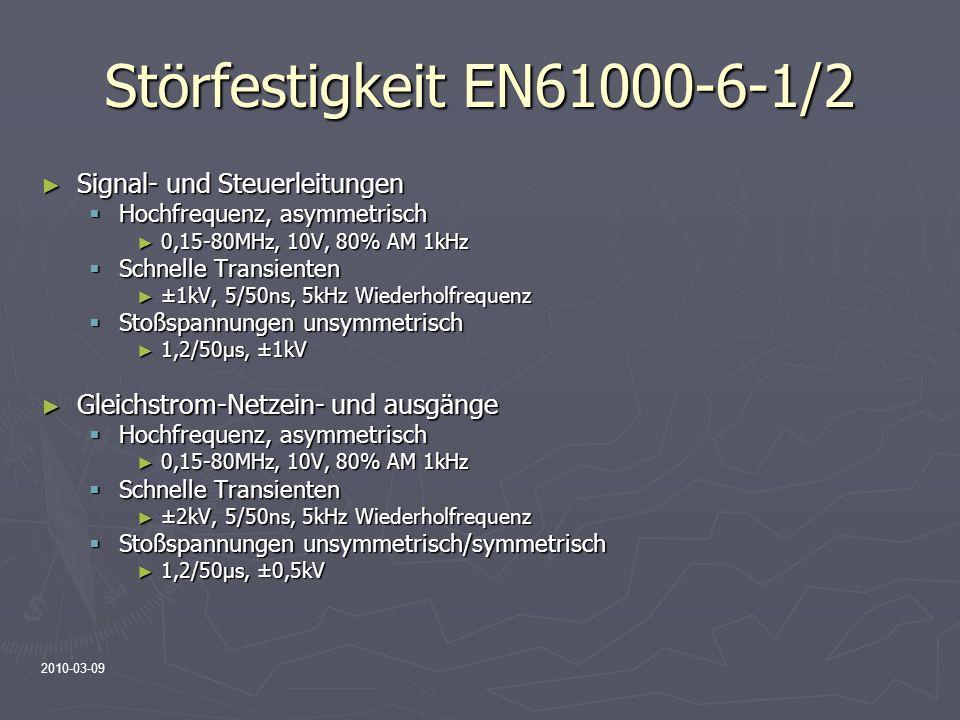 Störfestigkeit EN61000-6-1/2 Signal- und Steuerleitungen