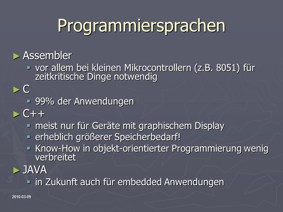 Programmiersprachen Assembler C C++ JAVA