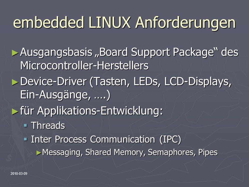 embedded LINUX Anforderungen
