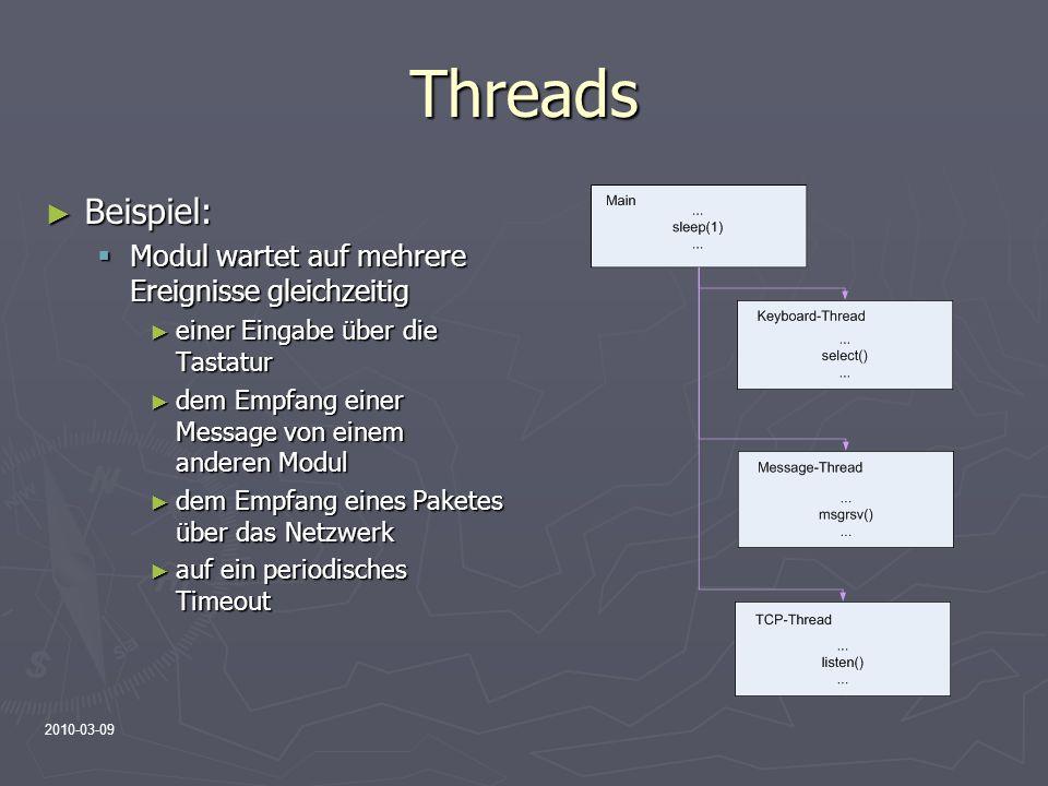 Threads Beispiel: Modul wartet auf mehrere Ereignisse gleichzeitig