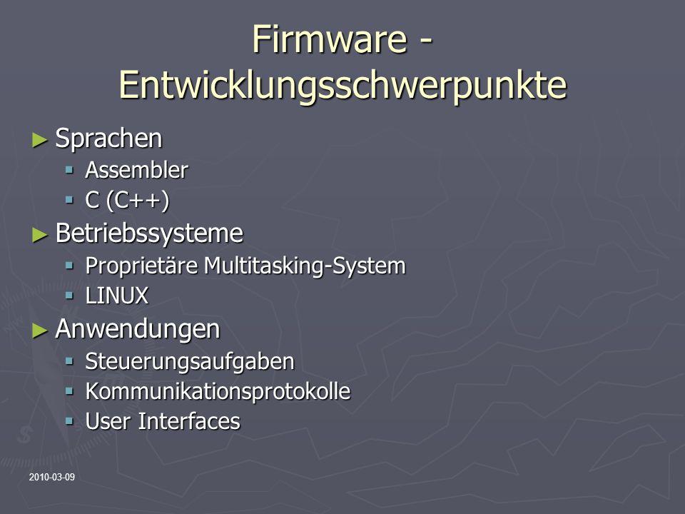Firmware - Entwicklungsschwerpunkte