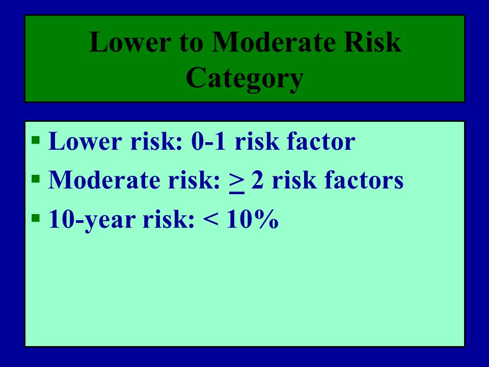 Lower to Moderate Risk Category