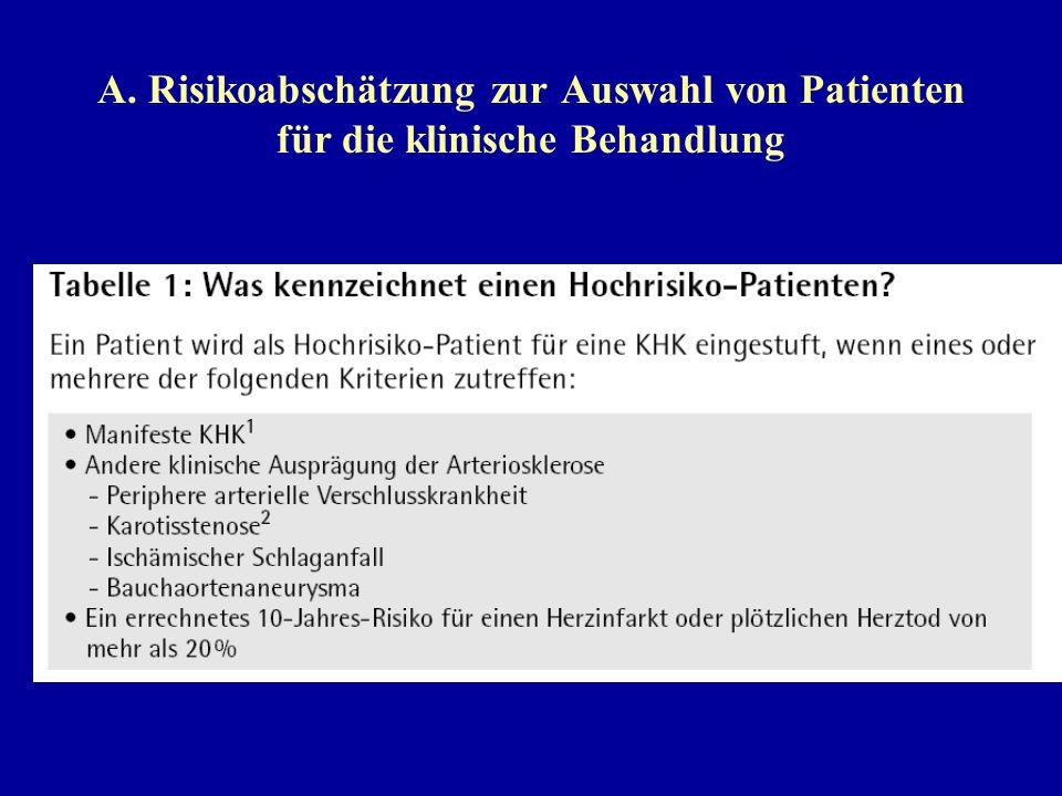 A. Risikoabschätzung zur Auswahl von Patienten für die klinische Behandlung