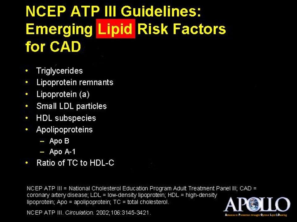 NCEP ATP III Guidelines: Emerging Lipid Risk Factors for CAD