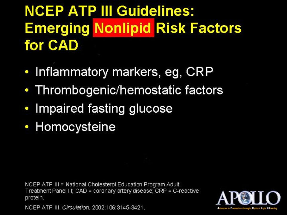 NCEP ATP III Guidelines: Emerging Nonlipid Risk Factors for CAD
