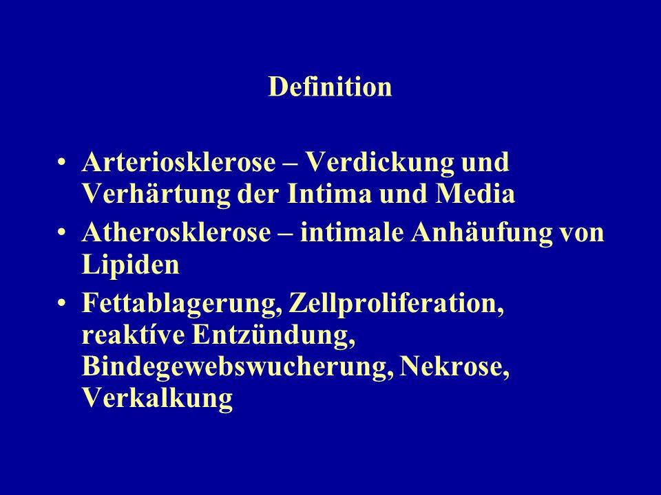 Definition Arteriosklerose – Verdickung und Verhärtung der Intima und Media. Atherosklerose – intimale Anhäufung von Lipiden.