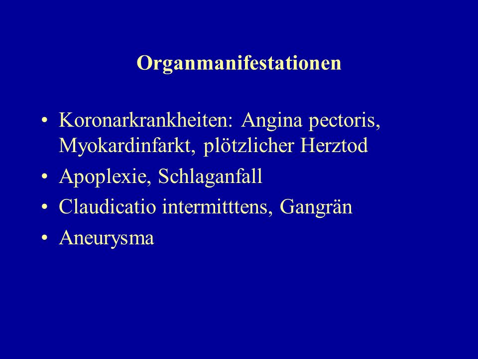 Organmanifestationen