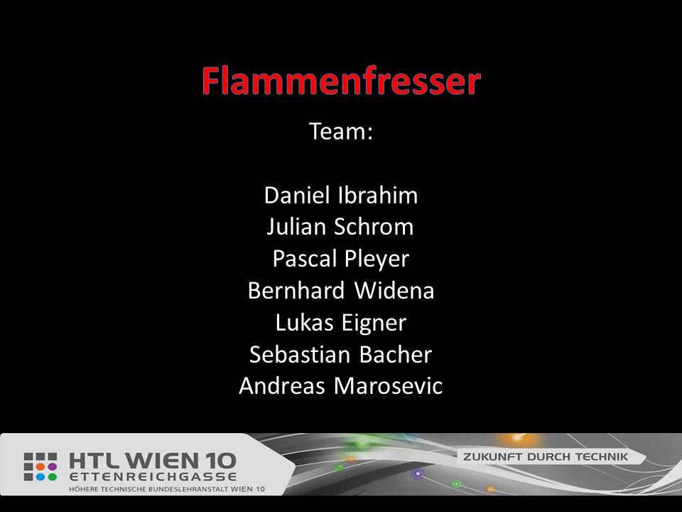 Flammenfresser Team: Daniel Ibrahim Julian Schrom Pascal Pleyer Bernhard Widena Lukas Eigner Sebastian Bacher Andreas Marosevic.