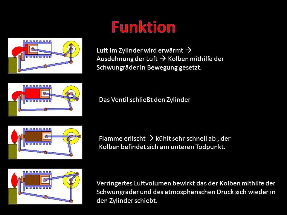 Funktion Luft im Zylinder wird erwärmt  Ausdehnung der Luft  Kolben mithilfe der Schwungräder in Bewegung gesetzt.