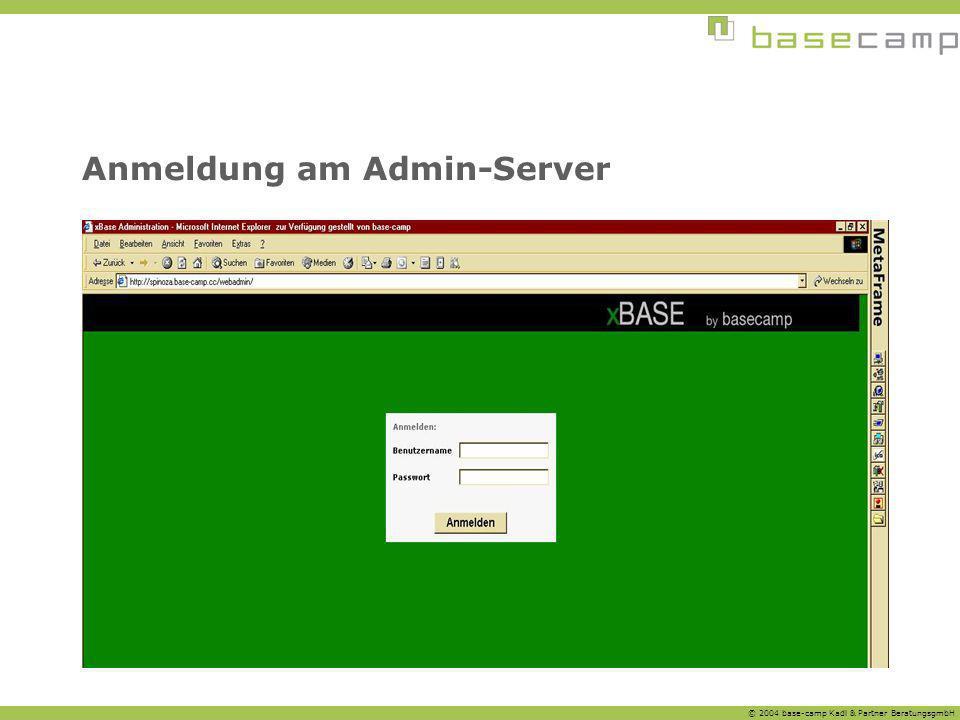 Anmeldung am Admin-Server