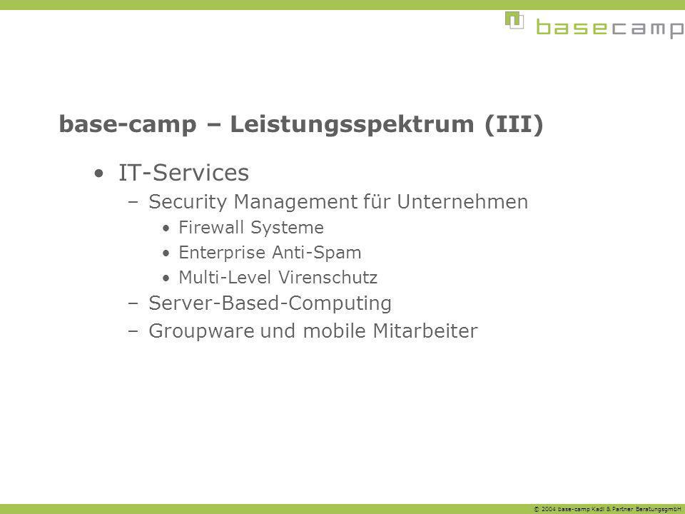 base-camp – Leistungsspektrum (III)