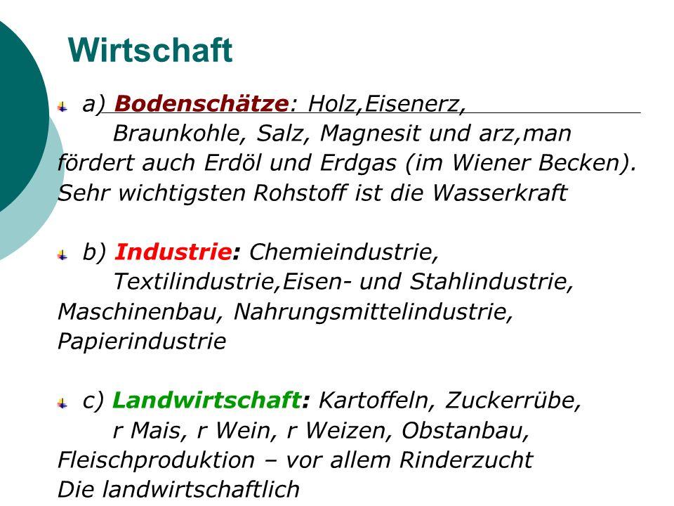 Wirtschaft a) Bodenschätze: Holz,Eisenerz,