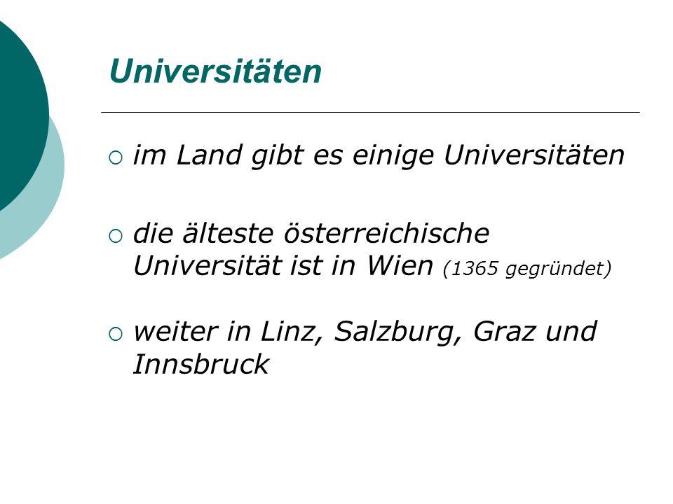 Universitäten im Land gibt es einige Universitäten