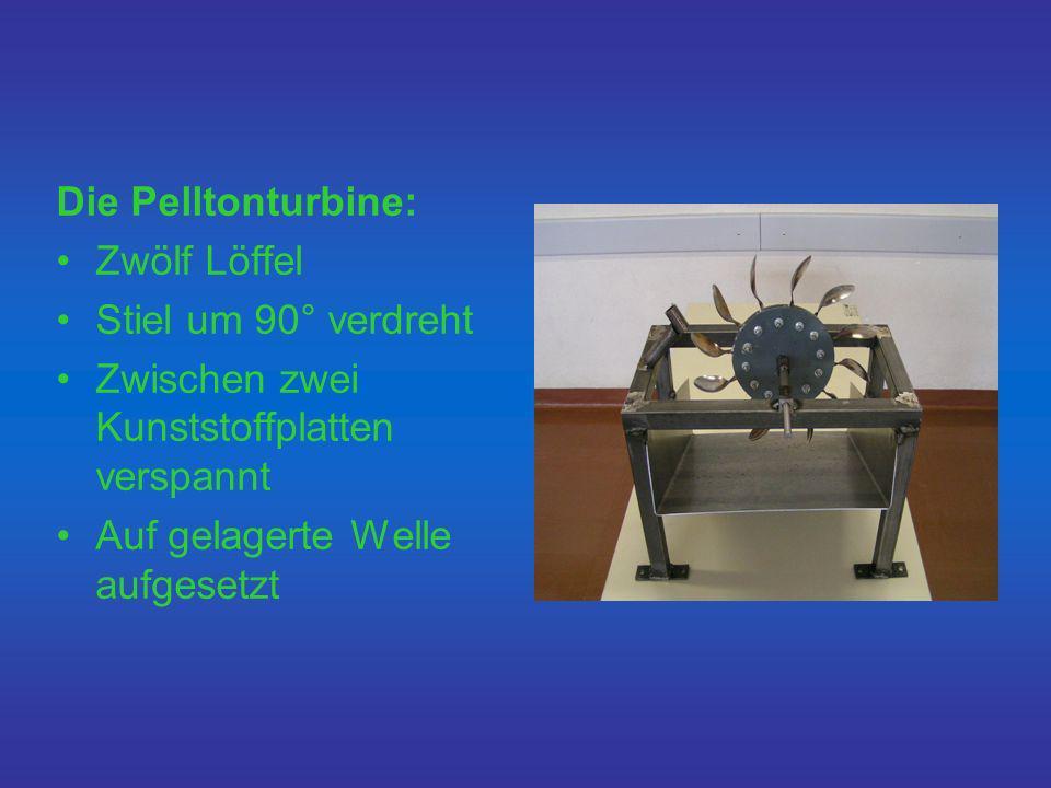 Die Pelltonturbine: Zwölf Löffel. Stiel um 90° verdreht. Zwischen zwei Kunststoffplatten verspannt.