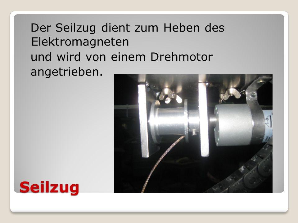 Der Seilzug dient zum Heben des Elektromagneten und wird von einem Drehmotor angetrieben.
