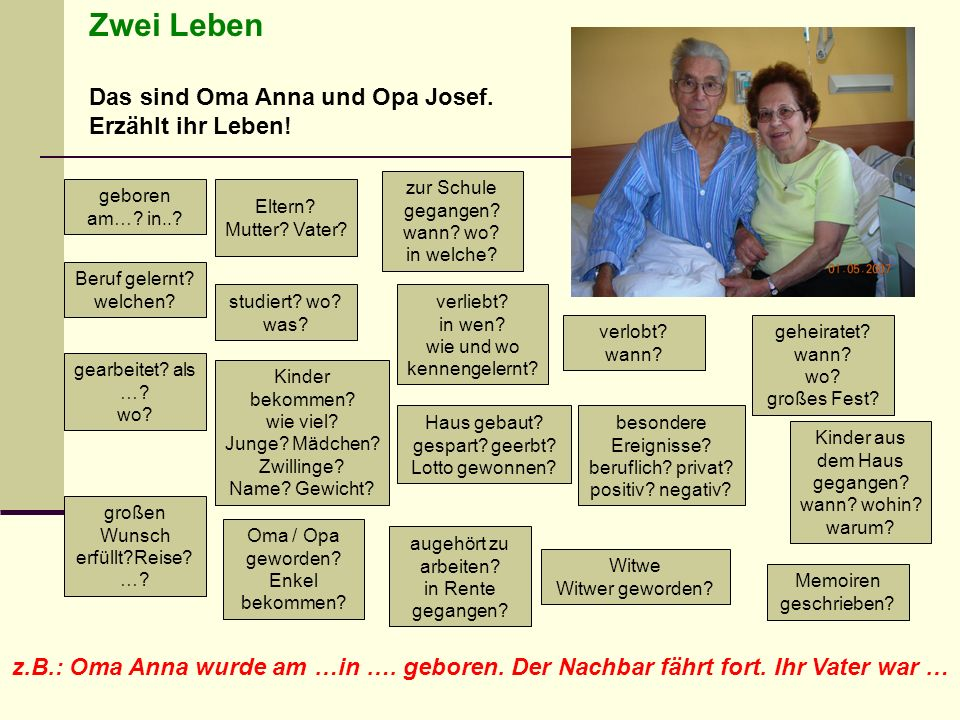 Zwei Leben Das sind Oma Anna und Opa Josef. Erzählt ihr Leben!