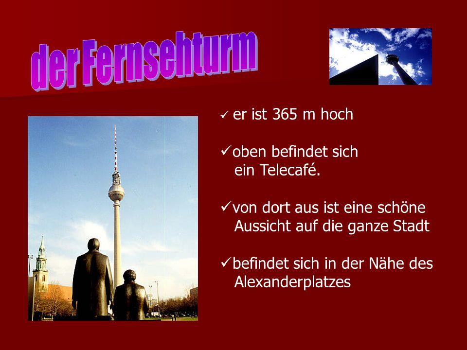 der Fernsehturm oben befindet sich ein Telecafé.