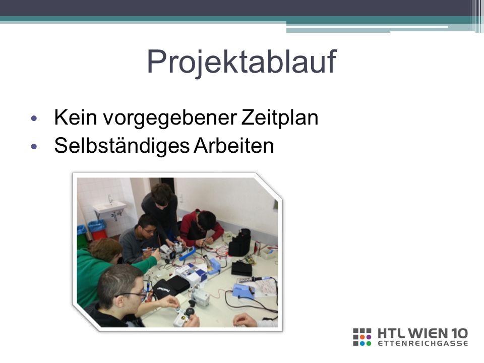 Projektablauf Kein vorgegebener Zeitplan Selbständiges Arbeiten