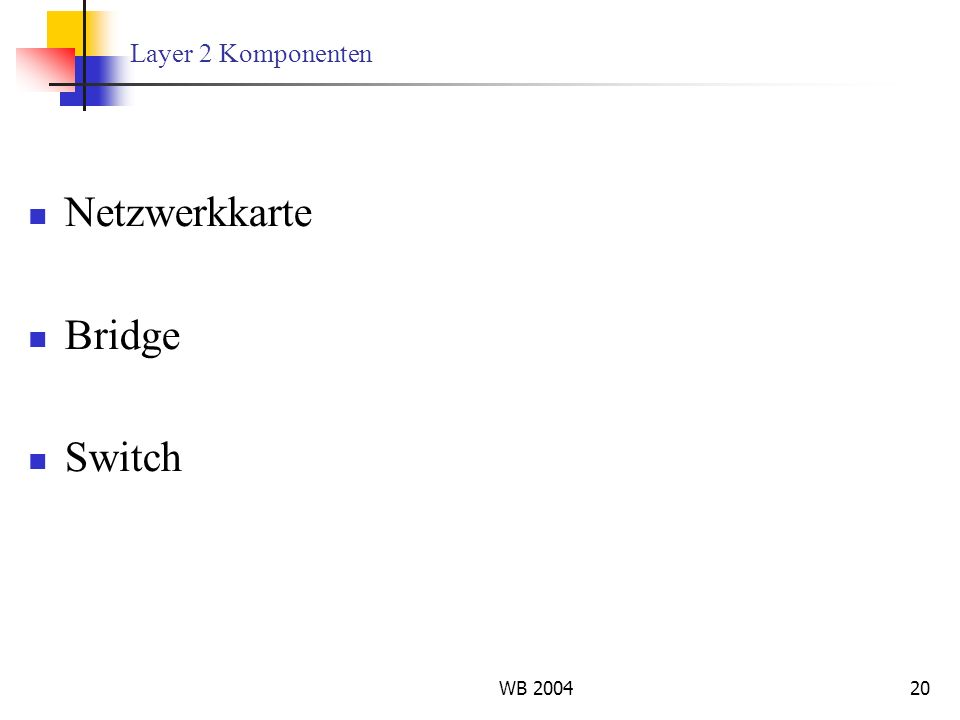 Layer 2 Komponenten Netzwerkkarte Bridge Switch WB 2004